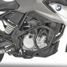 Černý spodní padací rám od Givi/Kappa pro BMW G310GS. Ocelové trubky a průměru 25mm poskytují velmi dobrou ochranu malého GS pro velké offroadové hráče.
