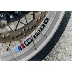 """Samolepky """"trikolora R1200"""" na přední a zadní kolo pro R1200GS Adventure 2006-2018, černé"""