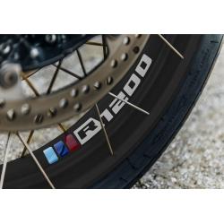 """Samolepky """"trikolora R1200"""" na přední a zadní kolo pro R1200GS Adventure 2006-2018, stříbrné"""