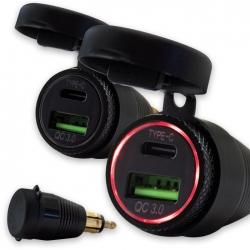Adapter z 12V na USB-C a USB-A do mini zásuvky (3000mA)
