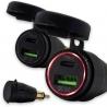 Nejmenší adaptér na trhu z 12V na 1x USB-C a 1x USB-A pasuje do malé zásuvky (originální zásuvky BMW motocyklů) vodotěsný uzávěr kovové tělo pro průměr zásuvky 11 mm vstupní napětí: 12V výstupní napětí:USB-A 3.0: 5V-4,5A, 9V-3A, 12V-2,5A (Quick Charge) výstupní napětí: USB-C PD: 5V-3A, 9V-3A, 12V-2,5A, 15V-2A, 20V-1,5A červené LED osvětlení