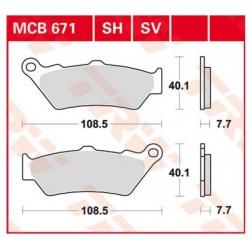 Přední brzdové destičky TRW Lucas MCB671SV pro BMW F850GS/A, F800GS/A, F750GS, F700GS, F650GS, F650GS/Dakar 2000-2007, G650GS