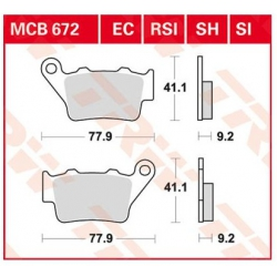 Zadní brzdové destičky TRW Lucas MCB672SH pro BMW F850GS/A, F800GS/A, F750GS, F700GS, F650GS, F650GS/Dakar, G650GS, G310GS