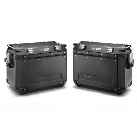 Sada černých hliníkových kufrů Givi 48L+37L