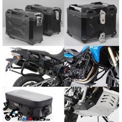 Adventure sada černá pro F800GS, F700GS, F650GS Twin (3x kufr, nosiče, padací rám, kryt motoru, tašky)