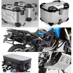 Adventure sada stříbrnápro F800GS, F700GS, F650GS Twin (3x kufr, nosiče, padací rám, kryt motoru, tašky)