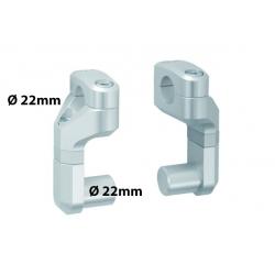 Variabilní zvýšení a nastavení řidítek o průměru 22mm, stříbrné