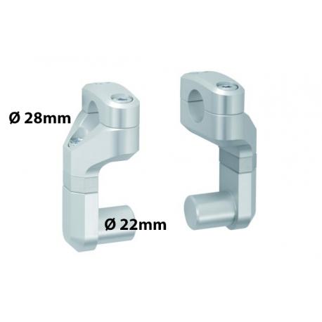 Variabilní zvýšení (50-60mm) a nastavení řidítek o průměru 22mm na 28mm, stříbrné