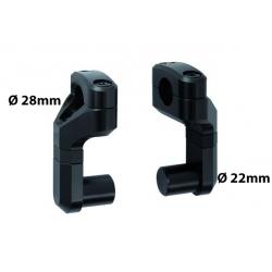 Variabilní zvýšení (50-60mm) a nastavení řidítek o průměru 22mm na 28mm, černé