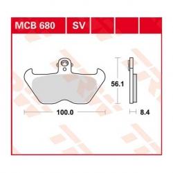 Sada brzdových destiček TRW Lucas MCB680SV na přední kotouče pro BMW R1150GS 99-01, R1100GS, R850GS