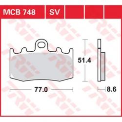 Sada brzdových destiček TRW Lucas MCB748SV na přední kotouče pro BMW R1200GS/A 2004-2012, R1150GS 01-04