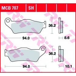 Sada brzdových destiček TRW Lucas MCB707SH na zadní kotouč pro BMW R1200GS/A 2004-2012, R1150GS/A, R1100GS, R850GS