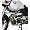 Stříbrnýocelový padací rám Ibex pro BMW R1150GS. Díky důmyslné konstrukci perfektně ochrání motor při pádu. stříbrná barva