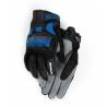 Rukavice GS Rallye, černo-modré Sportovní lehké letní rukavice bez podšívky. Zapínání rukavice na suchý zip s logem GS. Na ukazováku pravé ruky bílý nápis BMW Motorrad. barva černá-šedá-modrá kozí kůže kombinovaná s textilem, funkční s dotykovými displeji na prstech perforovaná kůže pro lepší větrání tvrdý plastový chránič na kloubech elastická manžeta