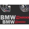 Samolepky BMW R1200 na přední a zadní kolo pro R1200GS Adventure 2006-2018, stříbrno-červené