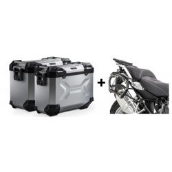 ALU boční kufry SW-Motech Trax Adventure + nosiče pro R1250GS/A, R1200GS/A LC 2013-2018, stříbrné