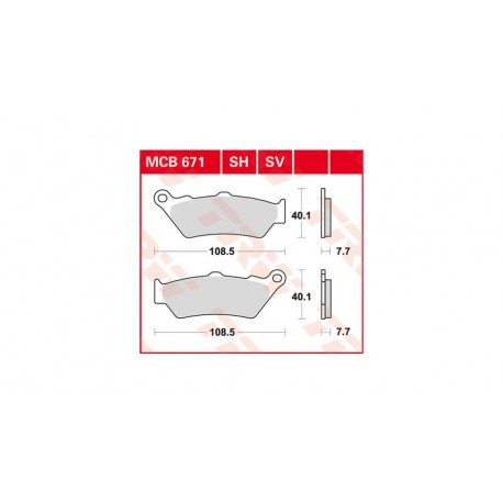 Sada brzdových destiček TRW Lucas MCB671SH na zadní kotouč pro BMW R1250GS/A, R1200GS/A LC 2013-2018