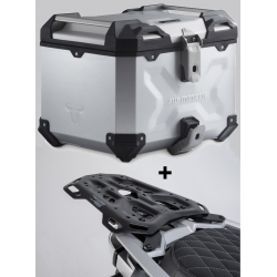 ALU topcase SW-Motech Trax Adventure 38l + plotna pro R1250GS, R1200GS LC 2013-2018, stříbrný