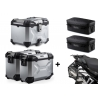 3x ALU kufry SW-Motech Trax Adventure + tašky + nosiče pro F850GS, F750GS, stříbrné