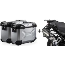 ALU boční kufry SW-Motech Trax Adventure + nosiče pro F850GS, F750GS, stříbrné