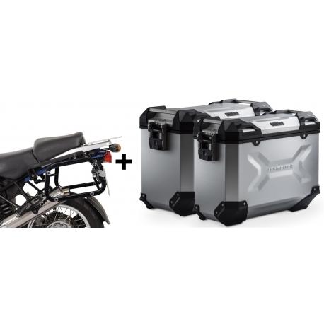 ALU boční kufry SW-Motech Trax Adventure + nosiče pro R1150GS/A, R1100GS, stříbrné