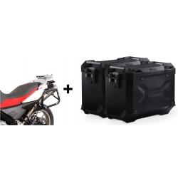 ALU velké boční kufry SW-Motech Trax Adventure + nosiče pro F650GS/Dakar, G650GS, černé