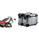 ALU malé boční kufry SW-Motech Trax Adventure + nosiče pro F650GS/Dakar, G650GS, stříbrné